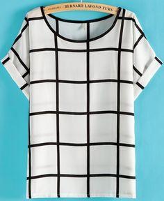 White Black Plaid Short Sleeve Loose T-Shirt