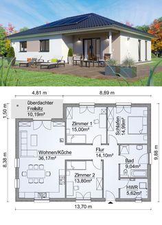 Fertighaus Bungalow SH 117 B Variante A mit Walmdach - ScanH.-Fertighaus Bungalow SH 117 B Variante A mit Walmdach – ScanHaus Marlow Bungalow Exterior, Bungalow House Plans, House Floor Plans, Architecture Design, House Map, Town House, Hip Roof, Bungalows, House Design