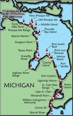 Image detail for -Lake Huron Lighthouse Map State Of Michigan, Lake Michigan, Northern Michigan, Michigan Lighthouse Map, Presque Isle Michigan, Michigan Facts, Michigan Vacations, Michigan Travel, Lake Huron