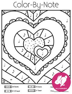 Valentine's Day Draw and Color-by-Music Notes, rhythms, tempo, dynamics for music class