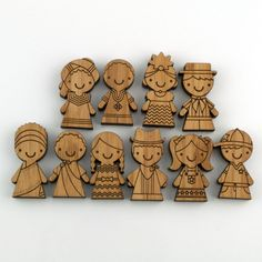 Bamboo Wooden Magnets: Children of the World Set #2