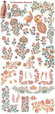 KALAMKARI. Vector Set Ornaments. by Irina Skaska on @creativemarket #kalamkari #vectorart