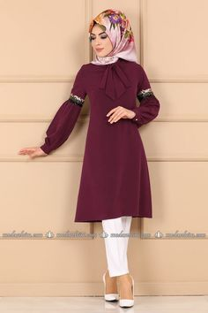 Modaselvim TUNİK Fularlı Tesettür Tunik PL904 Mürdüm Outfits, Dresses, Fashion, Islamic Fashion, Outfit, Gowns, Moda, La Mode, Dress