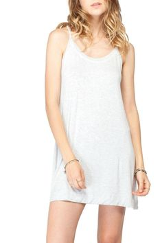 """Flowy tank dress in a light heather grey with tie back. This dress is the perfect summer essential. Model is 5'8"""" and is wearing a small.  Trenton Dress by Gentle Fawn. Clothing - Dresses - Casual California"""