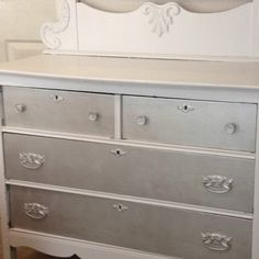 Modernize an antique dresser by painting the drawers a different color. I chose silver.