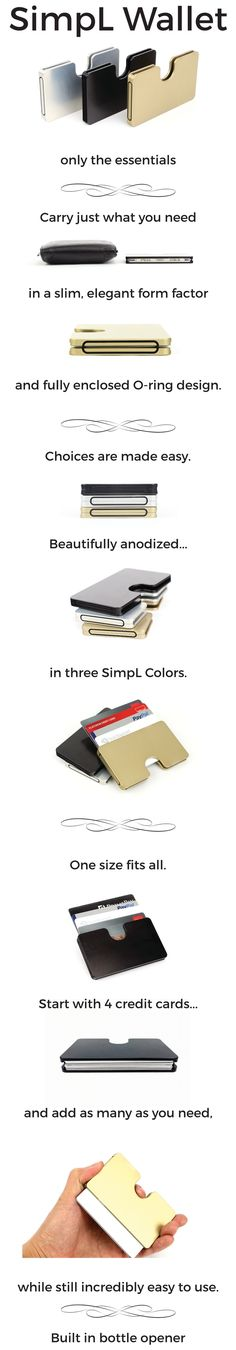 Beautiful, minimal wallet for just the Essentials. RFID blocking. Holds 4-20+ cards. Smooth edges and elegant curves.