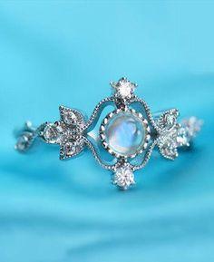 vintage deco gemstone silver engagement ring
