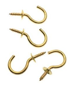 "Stanley Hardware 75-9040 1"" Cup Hooks - Bright Brass 4 per Package by Stanley. $1.68. From the Manufacturer                Solid Brass Cup Hooks  measuring 1-inch are rust resistant, for indoor or outdoor use, have die rolled bends and sharp points that bite into wood quickly and easily.                                    Product Description                Solid Brass Cup Hooks measuring 1-inch are rust resistant, for indoor or outdoor use, have die rolled bends and sharp poin..."