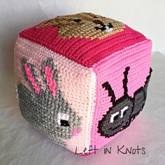 Crochet and cross stitch ABC blocks or can use each face or grid for another project