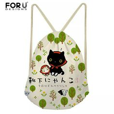 Cat Bag, Drawstring Backpack, Backpacks, Cats, Design, Gatos, Kitty Cats, Drawstring Backpack Tutorial, Women's Backpack