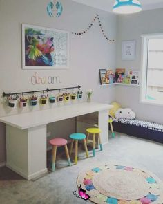 IKEA desk hack for kid playroom decor, activity table and bench in playroom, bonus room, or kid room decor, girl bedroom decor<br> Ikea Playroom, Playroom Organization, Playroom Design, Ikea Desk, Playroom Ideas, Playroom Table, Ikea Ikea, Organizing Kids Rooms, Bonus Room Playroom