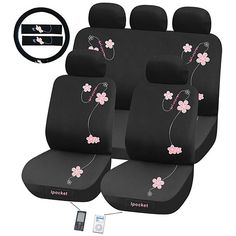 Give your car a quick makeover with this floral seat cover set. Offering a feminine motif, with embroidered flowers that look lovely against a stretchy black background, this stylish set can be used with or without the rear headrest covers.