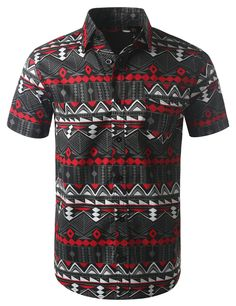 07e0d3d65 Tribal Geometric Pattern Short Sleeve Button Down Hunny Bunny, Patterned  Shorts, Casual Shirts,