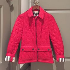 Burberry Brit Quilted Jacket Sz. XS Burberry Brit quilted jacket. Red- Sz. XS // worn only a few times. Inside is Burberry Nova Check. Fitted jacket Burberry Jackets & Coats