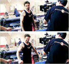 """Iron Man 2"" - set photo - Robert Downey Jr. being a five-year-old."