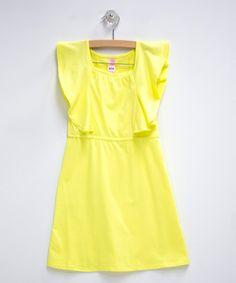 Look at this #zulilyfind! Yellow Angel-Sleeve Dress - Toddler & Girls by DownEast Basics #zulilyfinds