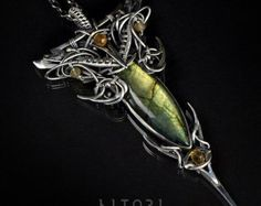 MELATHION  wire-wrapping sterling silver necklace, labradorite, citrine. Free shipping