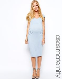 Image 1 of ASOS Maternity Body-Conscious Dress With Sweetheart Neck With Cap Sleeve