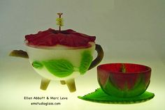 Hibiscus Teapot with Cup by Ellen Abbott & Marc Leva
