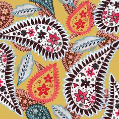 View Large Painted Paisley Yellow Ethnic Design by Sarah Jane Woodward. Available in Seamless Repeat Royalty-Free. Ethnic Design, Repeating Patterns, Textile Design, Free Pattern, Print Patterns, Paisley, Royalty, Tropical Prints, Stationery