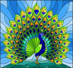 Illustration in stained glass style with colorful peacock on. - Illustration in stained glass style with colorful peacock on blue sky Stock Vector – 97576038 - Stained Glass Paint, Stained Glass Birds, Stained Glass Designs, Stained Glass Patterns, Mosaic Patterns, Glass Painting Patterns, Glass Painting Designs, Paint Designs, Peacock Painting
