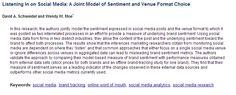 Listening In on Social Media: A Joint Model of Sentiment and Venue Format Choice Brand Management, Effort, Insight, Author, Social Media, Journal, Marketing, Model, Branding