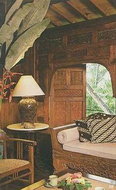 Indonesian Furniture and Architectural Panel - teak wood. Home Interior Design: Joglo Home Modern Javanese