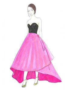 Watercolor Woman Fashion Illustration, Pink Oscar de la Renta, Girls Room Decor, Fashion Wall Art, Teen Bedroom Décor, Fashion Sketch