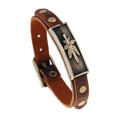 Leather Maple Leaf Bracelet Wristband For Women and Men - Active Everyday Carry