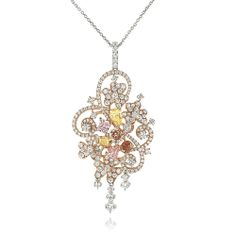 assorted #fancy color #diamond #pendant with #brilliant #round accent set in 14K #rose and #white #gold setting #engagement #wedding #jewelery