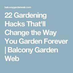 22 Gardening Hacks That'll Change the Way You Garden Forever | Balcony Garden Web