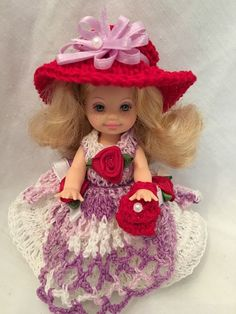 http://www.ebay.com/itm/Barbie-Red-Hat-KELLY-wearing-purple-white-red-crochet-outfit-red-hat-shoes-/152574768036?hash=item23862a33a4:g:L1kAAOSwX61ZNeYL