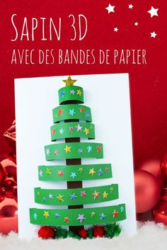 tree with paper strips - Christmas - This Christmas activity based on cutting and collage will allow children to create a sublime tre - Christmas Advent Wreath, 3d Christmas, Easy Christmas Crafts, Christmas Activities, Advent Wreaths, Christmas Tables, Modern Christmas, Scandinavian Christmas, Simple Christmas