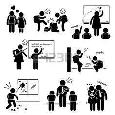 School Education Social Problem Student Teacher Stick Figure Pictogram Icon Clipart photo