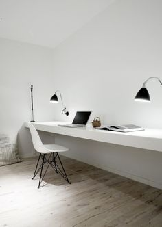 Super minimal space - no distractions.  Home office inspiration from Norm Architects