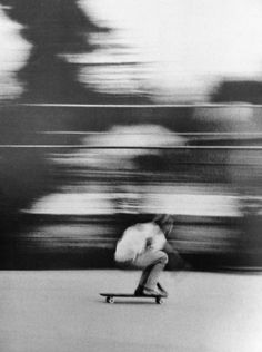 This is a vital picture because it seems like she is going very fast and it is vital for her to stay on the skateboard. This picture contains black-and-white, slow shutter speed, and rule of thirds. Girls Skate, Street Photography, Art Photography, Motion Photography, Skater Photography, Artistic Photography, Landscape Photography, A Well Traveled Woman, Motion Blur
