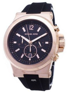 Features: Rose Gold-Tone Stainless Steel Case Black Silicone Strap Quartz Movement Mineral Crystal Black Dial Chronograph Function Tang Clasp Date Display Water Resistance Approximate Case Diameter: Approximate Case Thickness: Watch Sale, Krystal, Casio Watch, Stainless Steel Case, Michael Kors Watch, Omega Watch, Chronograph, Watches For Men, 100m
