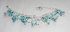 Artisan Princess Chunky Statement Charm Bracelet Blue Crystal Turkey Turquoise