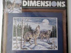 "Call of The Wilderness Cross Stitch Kit Wolf 14""x10"" Adams Dimensions 1997"