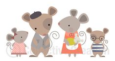 Mouse Family Digital Clip Art Clipart Set by CollectiveCreation