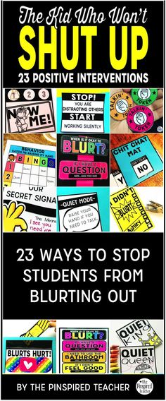 BLURT ALERT! Need classroom management ideas for students who are chatty, blurt out, interrupt, and just talk non-stop all day long? Here are 23 ways I stop students from blurting out in my elementary classroom. By The Pinspired Teacher   Behavior Managem