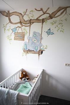 branche darbre aux couleurs douces avec des animaux mignons Mur Etiquette DecoDeco sticker mural Branche Woodland menthe d/écoration muraux pour chambre de b/éb/é