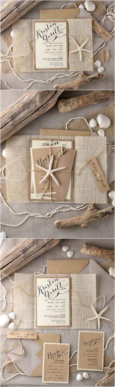 Rustic country burlap beach wedding invitations @4LOVEPolkaDots
