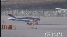 High winds cause a small plane to take off by itself