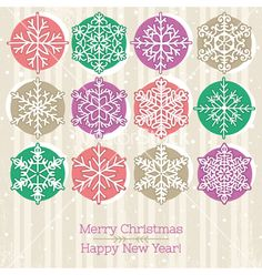 Retro christmas background with hand draw snowflak vector by sunnyfrog on VectorStock®
