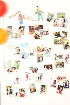 """Gracie's Sesame Street Birthday Party - """"Gracie's Great Adventures"""" wall of pictures"""