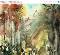 HOLIDAY SALE Original Watercolor Painting Forest by CanotStop