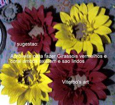 Flores em E.V.A. / PET / Meias de Seda: Girassol em e.v.a passo a passo Plants, Garden, Handmade Crafts, Satin Flowers, Red Sunflowers, Sunflowers, Garten, Planters, Gardening