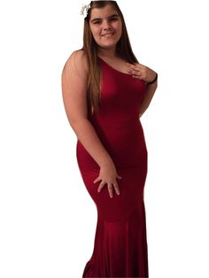Red Mermaid Dress One Shoulder Size Large Bust Around 38-39 inches Just Beautiful at MJCreation on Bonanza