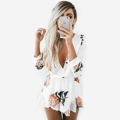 Bohemian Loose Printed Floral Playsuits Jumpsuits